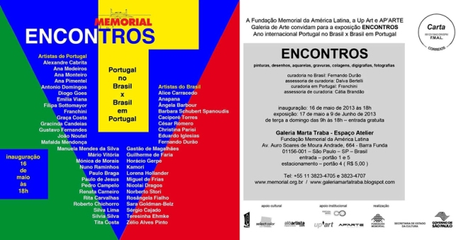 Convite Exposição Encontros - Galeria Marta Traba