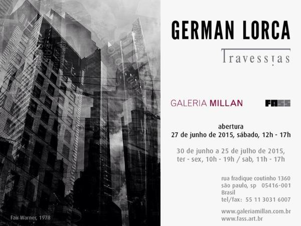"Convite  German Lorca, ""Travessias""  galeria Millan"